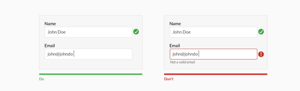 Use inline validation after the user fills out the field (unless it helps them while in the process)