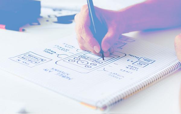 designer creating wireframe