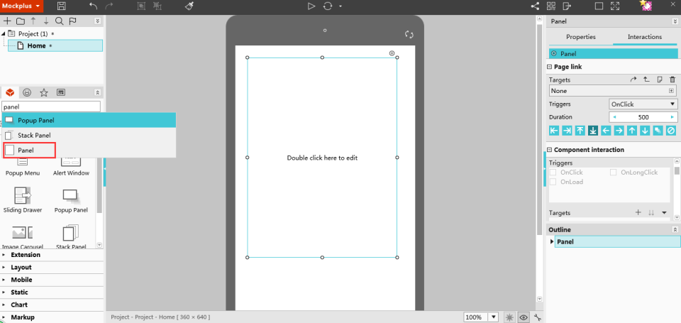 select panel in Mockplus