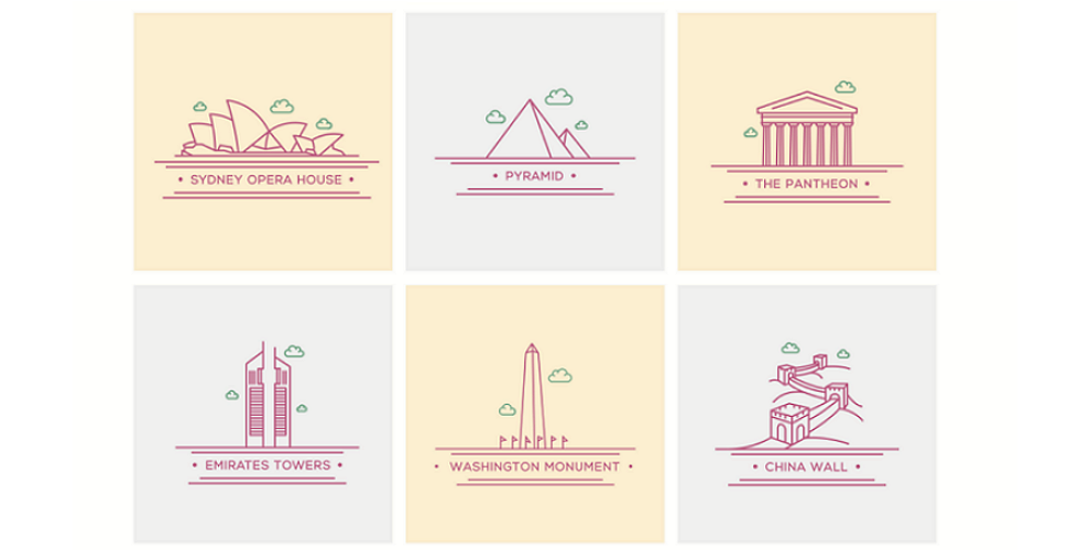 A selection of the best product design and uxui design resources free design materials 18 lovely world landmark icons stopboris Choice Image