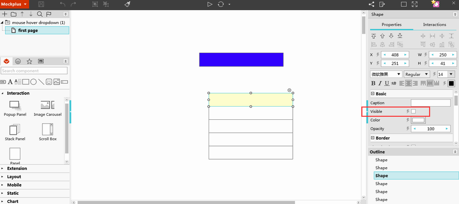 Make a menu with rectangle