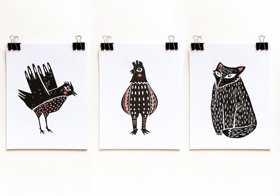 cute vintage linocut animals
