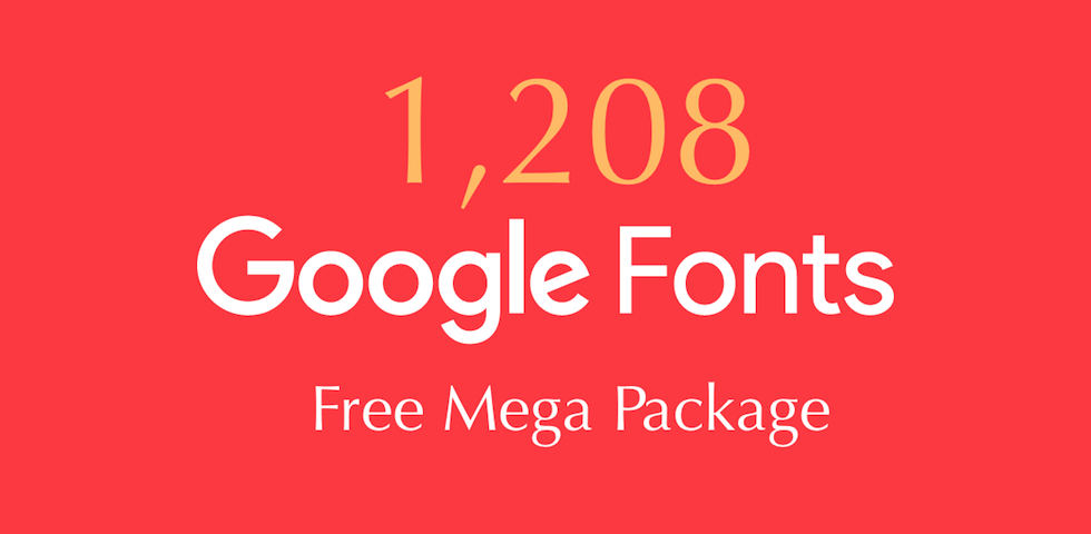 Free Design Materials - Package of 1,208 Google Fonts for Designers