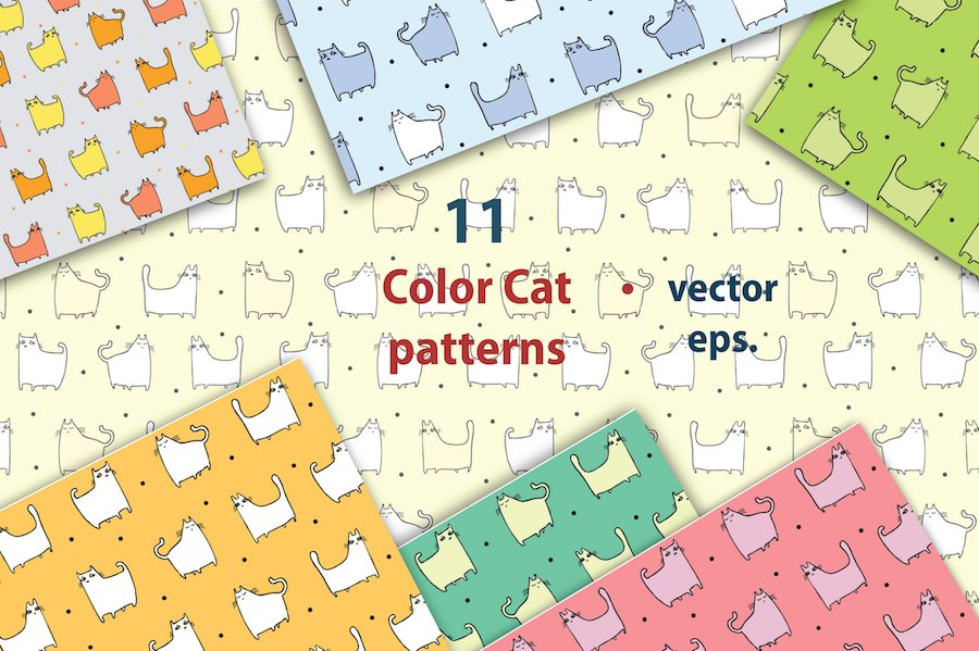 11 color cat patterns