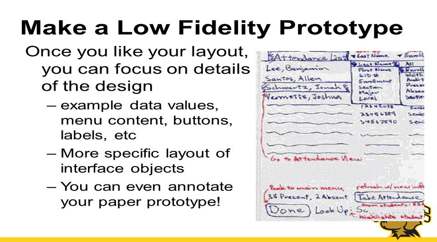 Make a low fidelity prototype