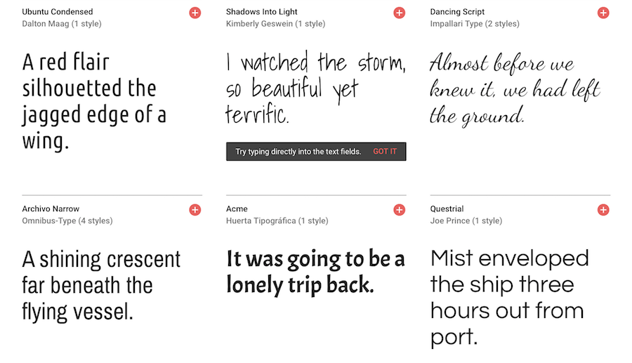 google fonts preview 2