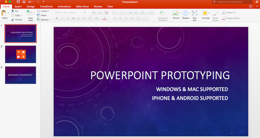 File format of powerpoint prototype