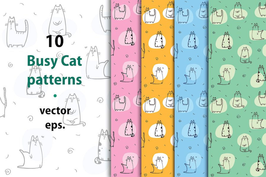 10 busy cat patterns