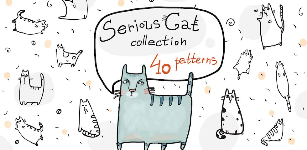 Free Design Materials - Serious Cat Collection: 40 Free Graphic Design Patterns for Cat Lovers