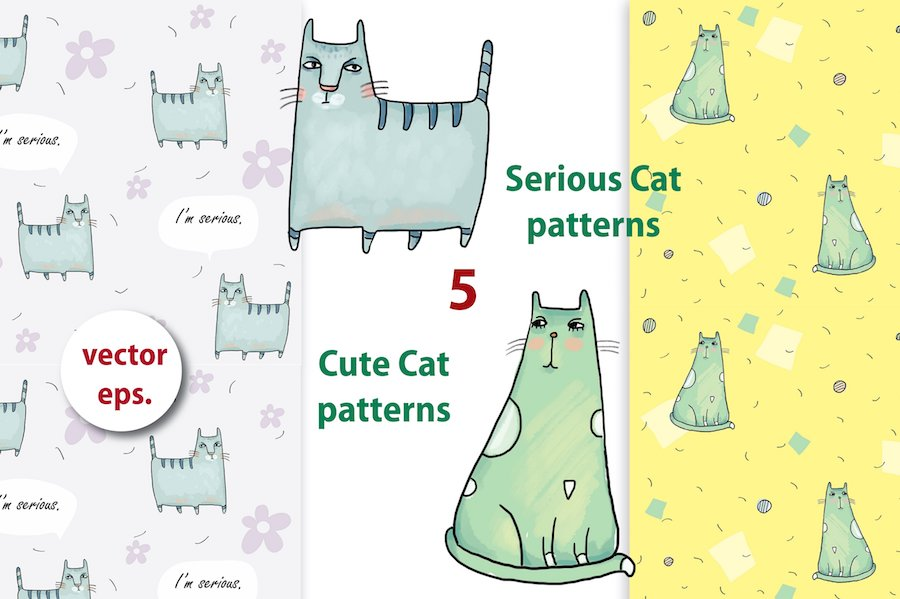 serious cat & busy cat patterns