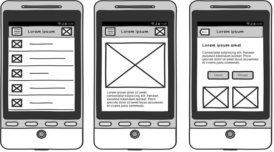 App wireframe design