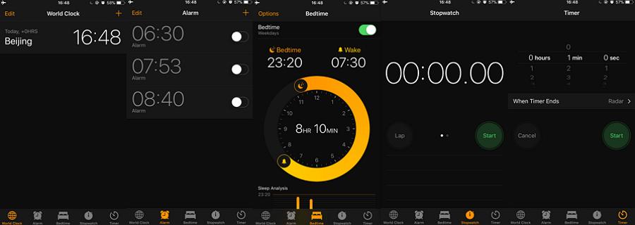 iOS clock app