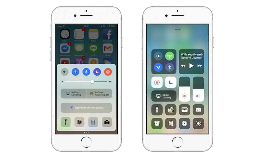 iOS10 vs iOS 11:control center