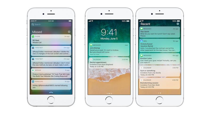 iOS 10 vs iOS 11: Notification