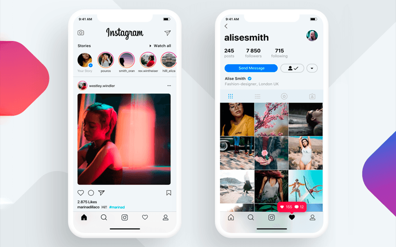 iPhone X Instagram app concept by Cleveroad