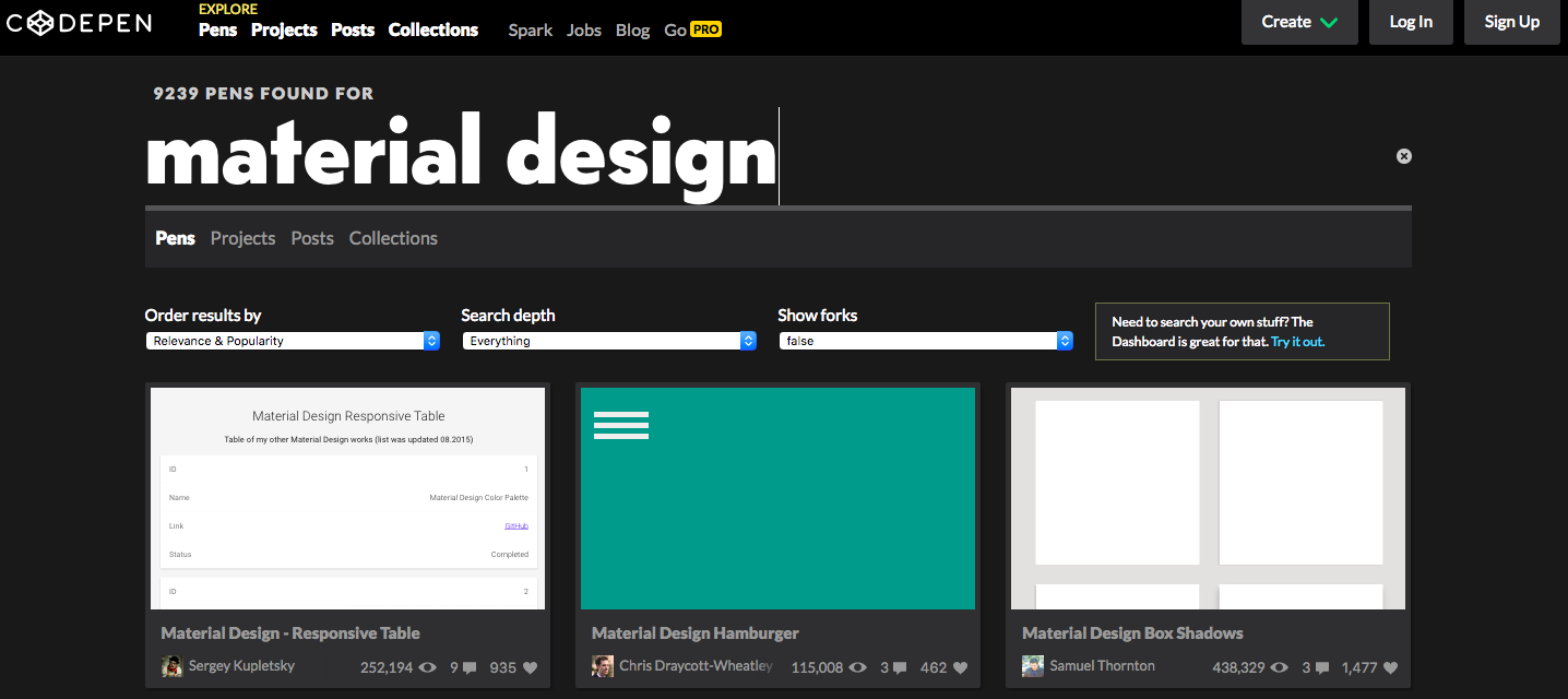 Codepen Material Design