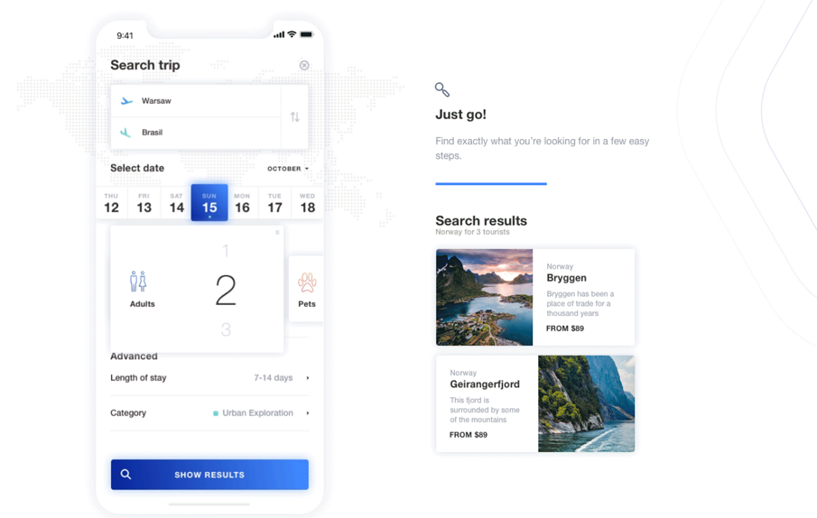 Travello App Concept - Plan a new travel adventure
