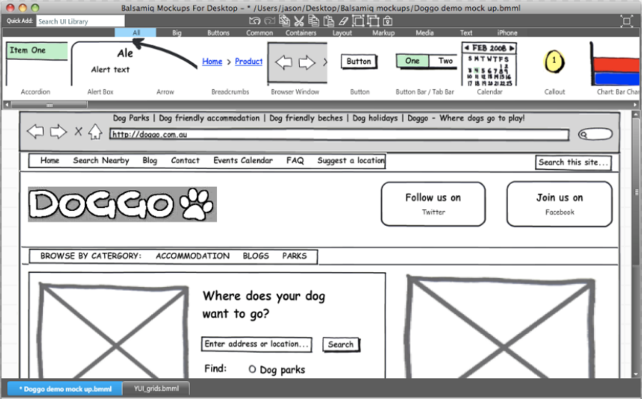 Prototyping tool Balsamiq