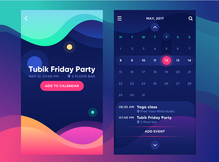 Mobile App UI Design Trends Color Gradients