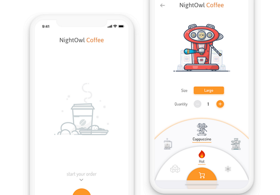 Mobile App Interface Design NightOwl Coffee