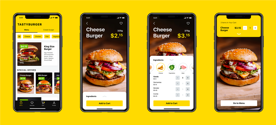 Latest Food Mobile App UI Design Tasty Burger App