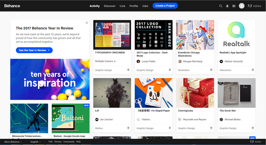 Best free online portfolio website Behance