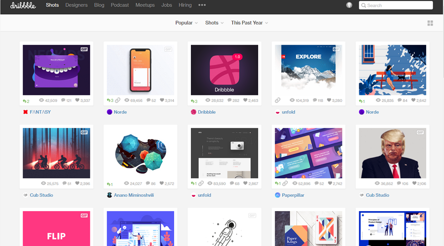 Best free online portfolio website Dribbble