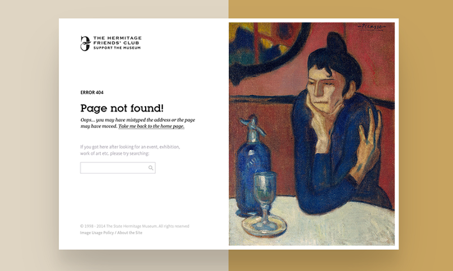 404 Page of the Hermitage Friends