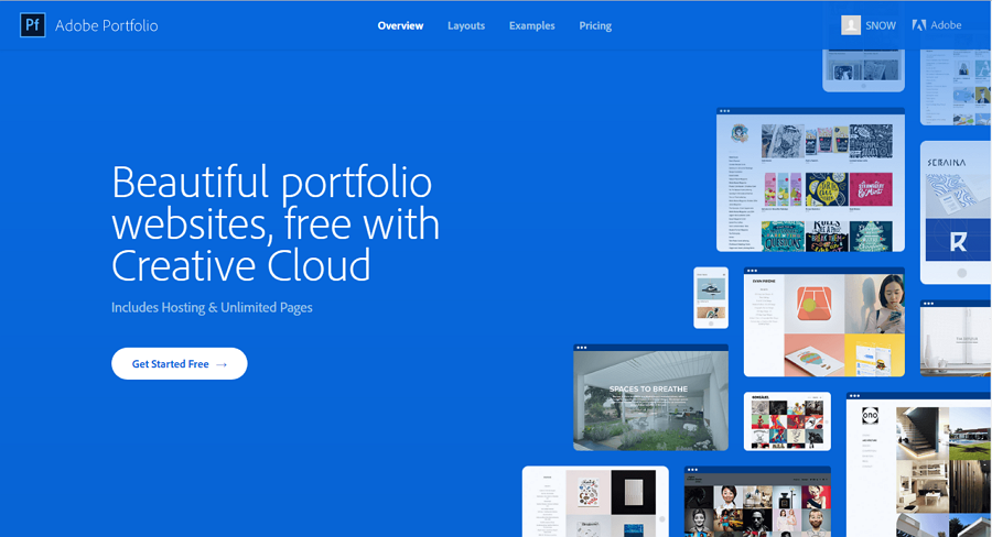 Best free online portfolio website Adobe Portfolio