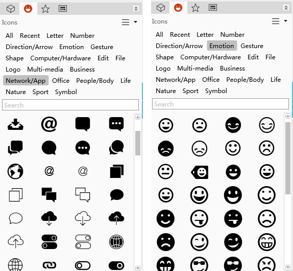 Bubble and expression icons in Mockplus
