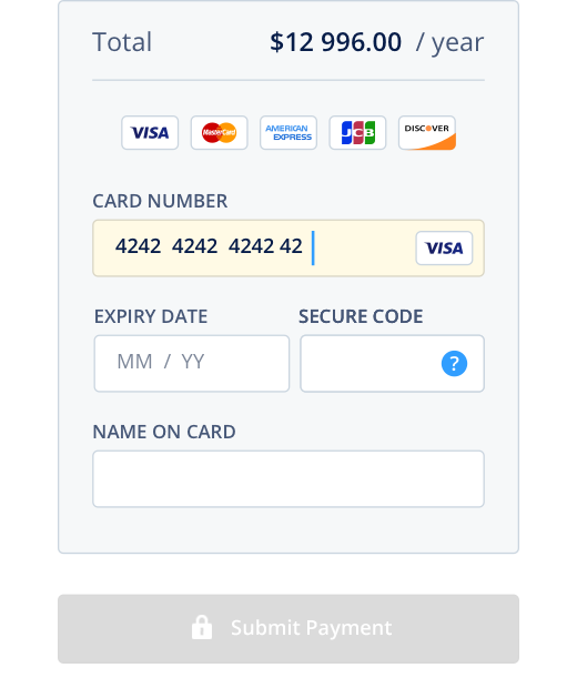 Bank card details form