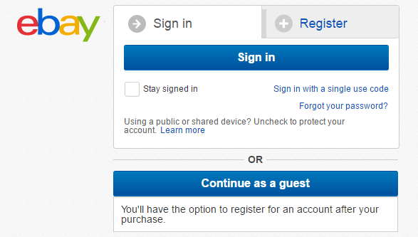 "eBay provides easy distinguashable ""Continue as a guest"" option"