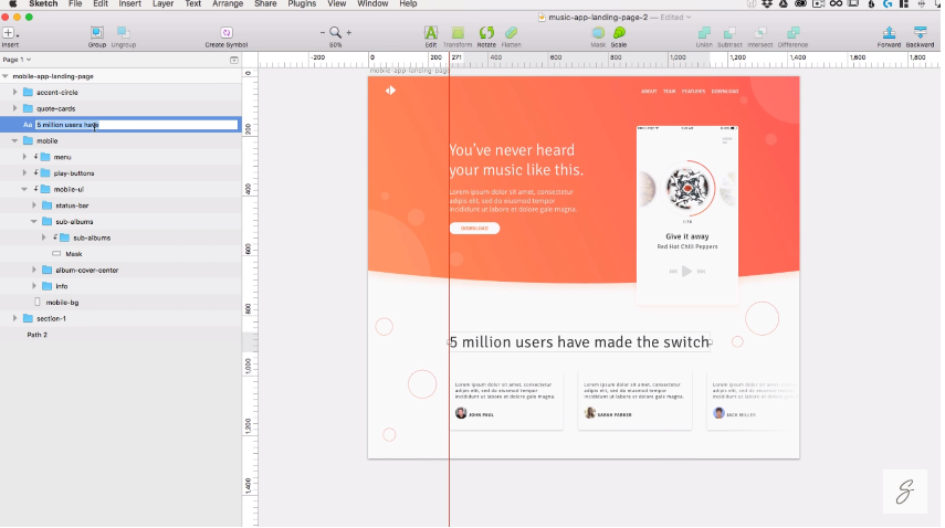 Sketch App Tutorial – Build a music app landing page in Sketch