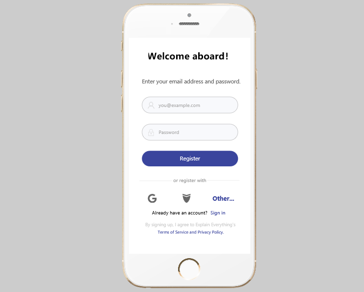Explain Everything - Mobile Form Design Examples