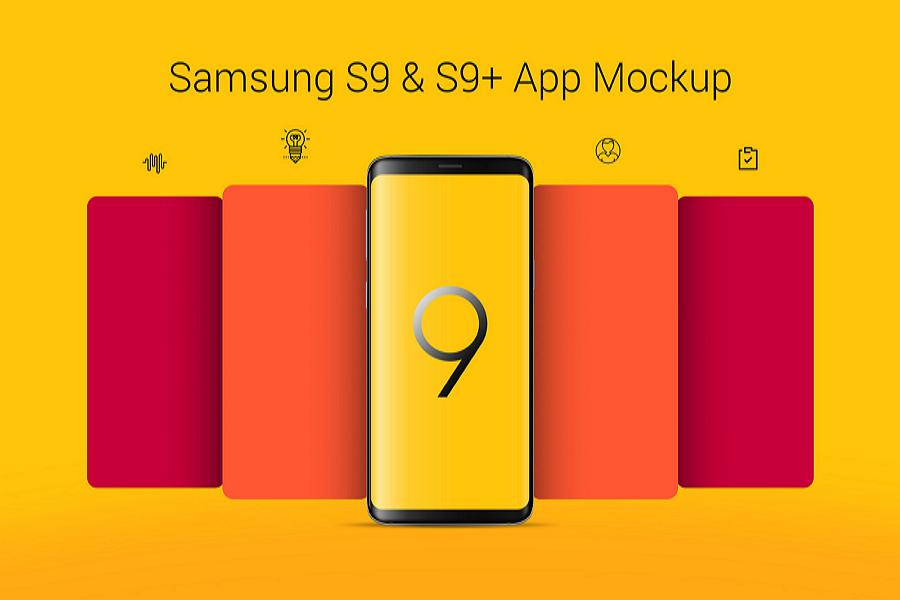 Free Samsung Galaxy S9 & S9+ App Mockup PSD