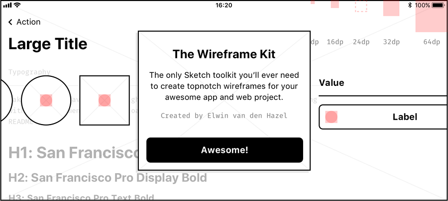 Lightweight-Wireframe-kit-sketch-resource