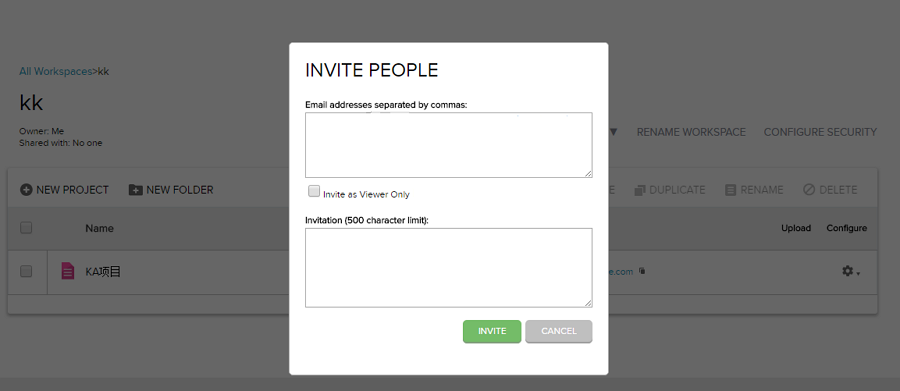 Enter Email to Invite People in Axure