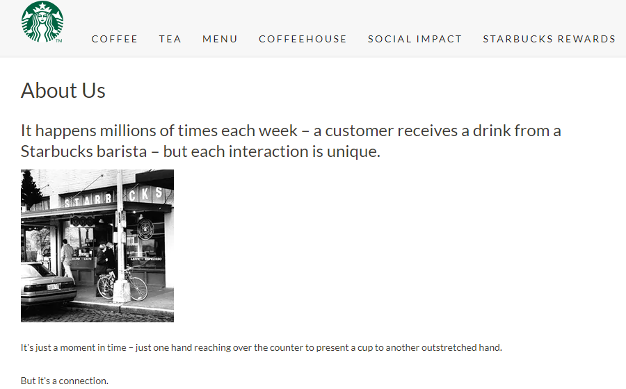 Starbucks about us page