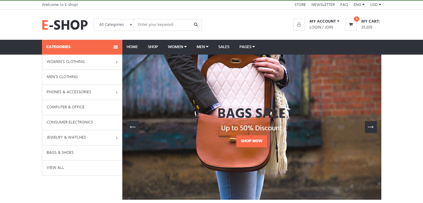 Ecommerce Website Sidebar Design