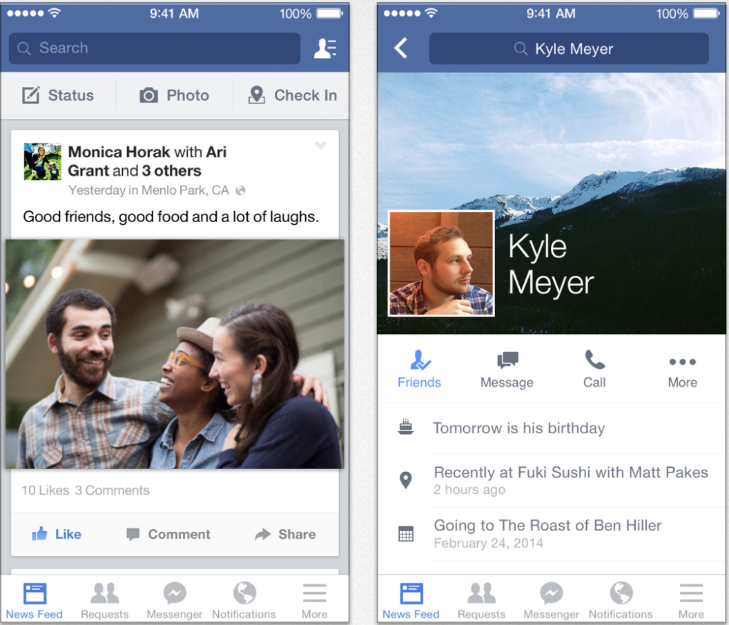 Facebook app for iOS