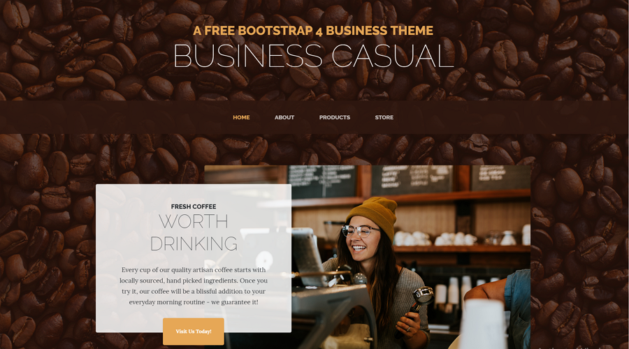 Business Casual is a full landing page template created with Bootstrap 4