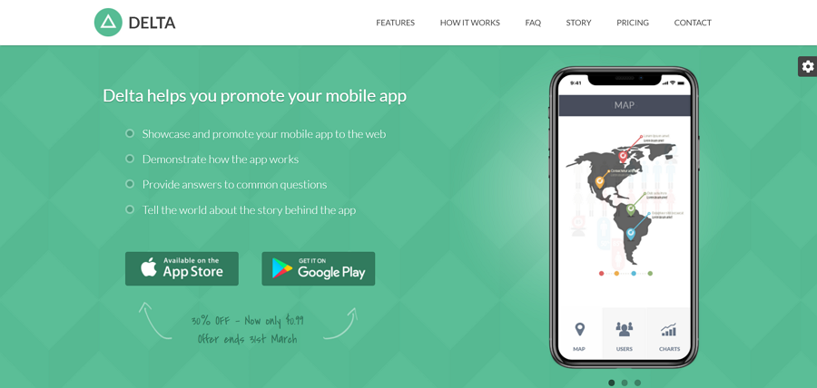 Delta - Promote Mobile App (Bootstrap 4)