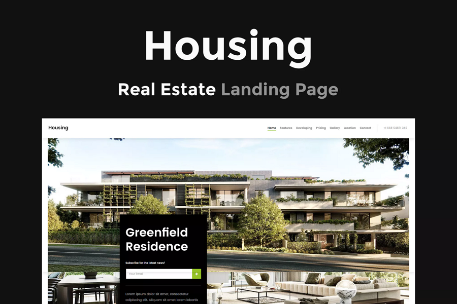 Housing - Parallax Landing Page Template for Real Estate