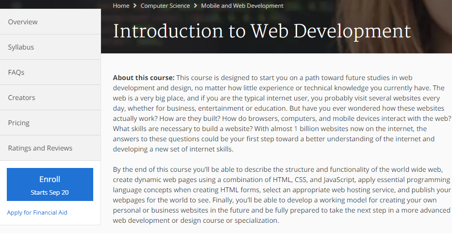 Coursera Introduction to Web Development