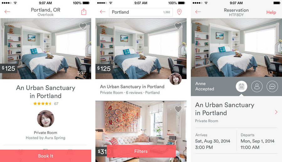 Card ui design - Airbnb