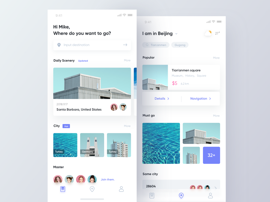 Card ui design- travel app