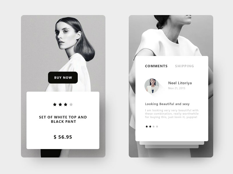 Product Display Mobile App Design