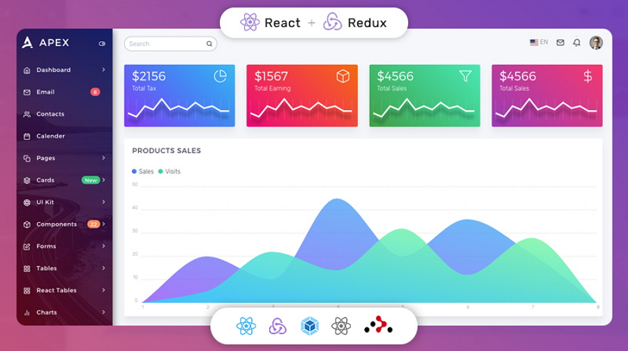 Apex React Redux Bootstrap Admin Dashboard Template