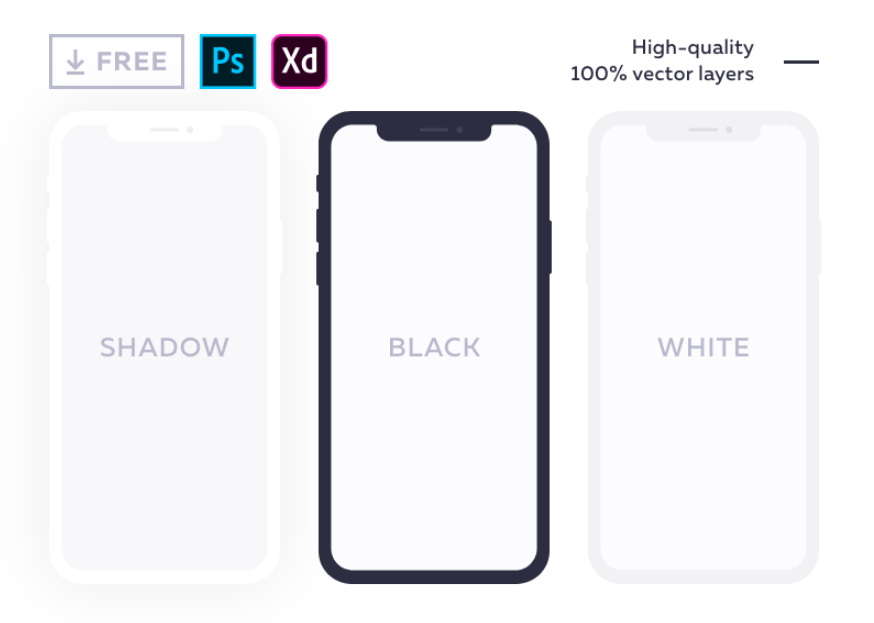 19. Free flat mockup for iPhone X