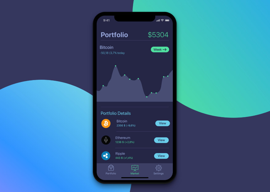 16. iPhone X design dark - Portfolio Screen for Cryptocurrency app